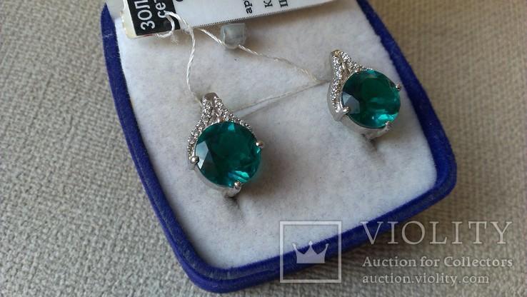 Серьги и кольцо серебро 925 с изумрудами и цирконами., фото №12