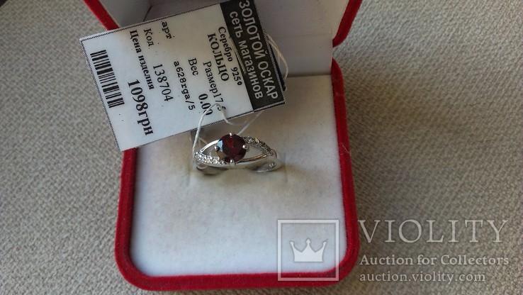 Серьги и кольцо серебро 925 с гранатами и цирконами., фото №6