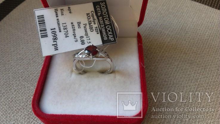 Серьги и кольцо серебро 925 с гранатами и цирконами., фото №7
