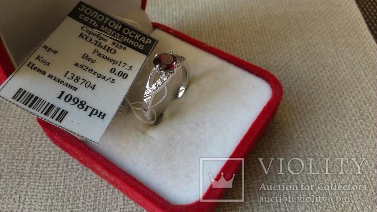 Серьги и кольцо серебро 925 с гранатами и цирконами., фото №8
