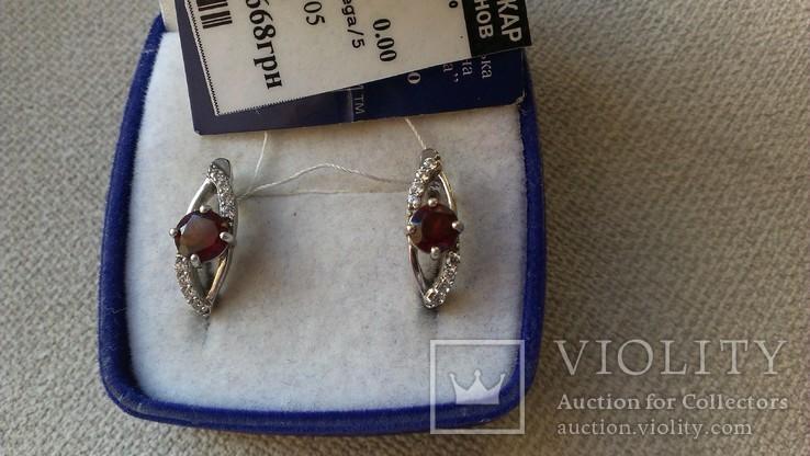 Серьги и кольцо серебро 925 с гранатами и цирконами., фото №11