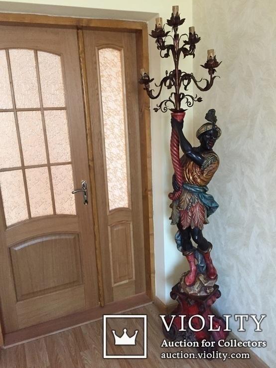 Старовинний торшер (дерево), фото №2