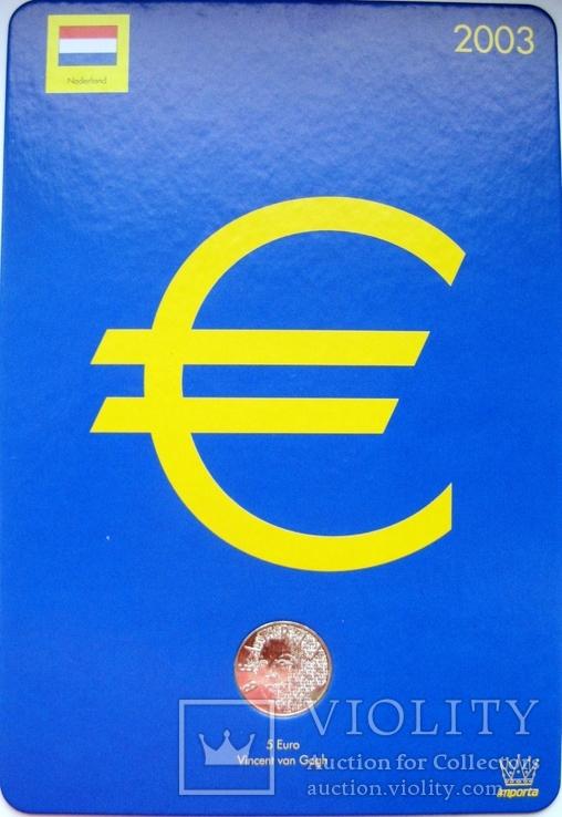 """Нидерланды, 5 серебряных евро 2003 """"Ван Гог"""" в официальной упаковке IMPORTA, фото №2"""