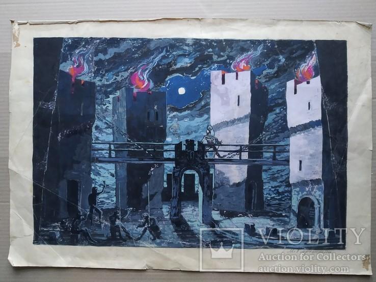 """""""Гамлет""""сценография, б.гуашь, Мартин Вигдор Кордонский, фото №2"""