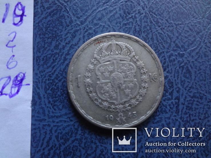1 крона  1943  Швеция  серебро   (2.6.20)~, фото №4