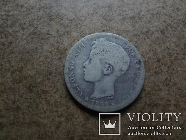 1 песета 1899  Испания  серебро   (У.3.10)~, фото №3