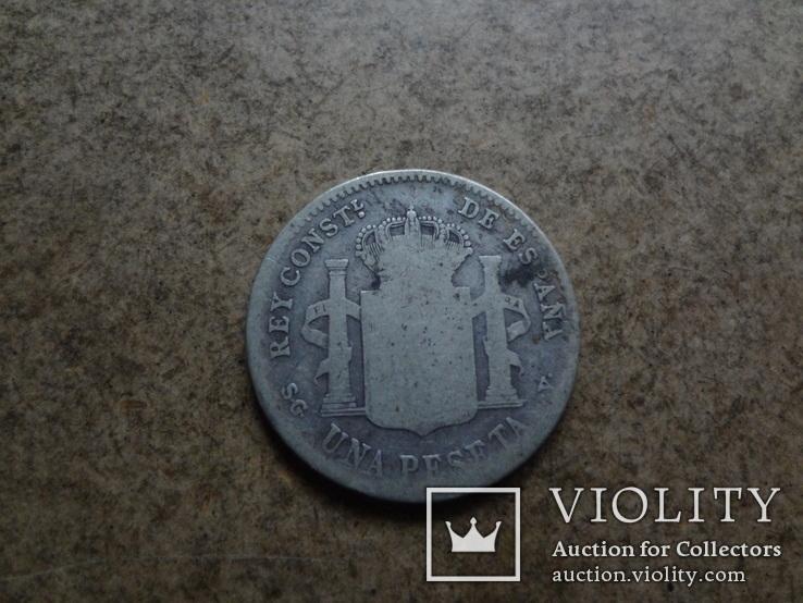 1 песета 1899  Испания  серебро   (У.3.10)~, фото №4