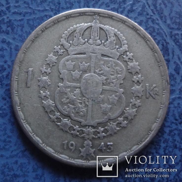 1 крона  1943  Швеция  серебро   (2.6.15)~, фото №2