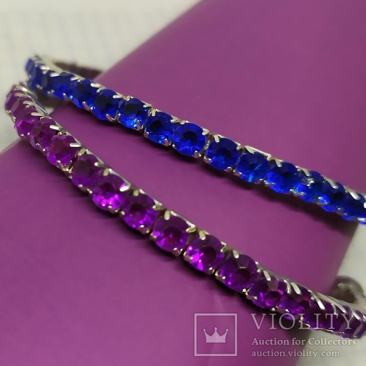 Пара браслетов с синими и фиолетовыми вставками (2), фото №3