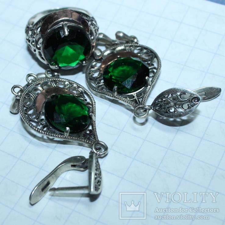 Серебро , золото и цирконы .Комплект из дух сережек и кольца, фото №3