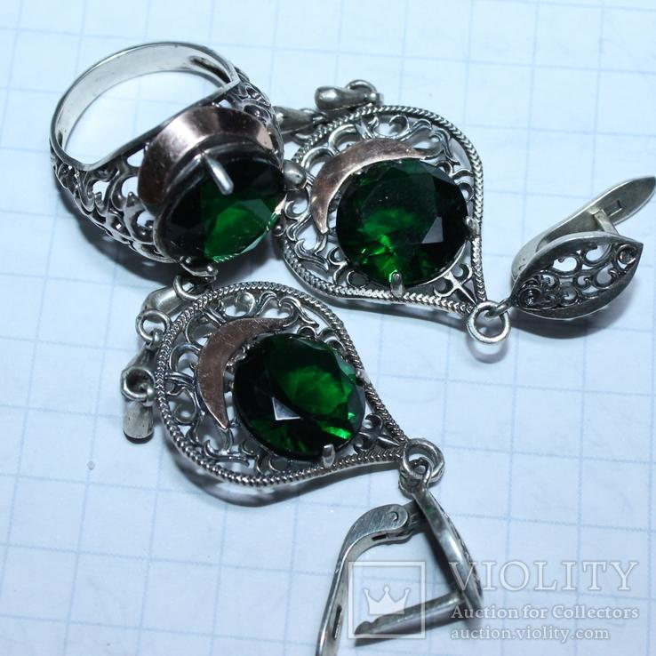 Серебро , золото и цирконы .Комплект из дух сережек и кольца, фото №4