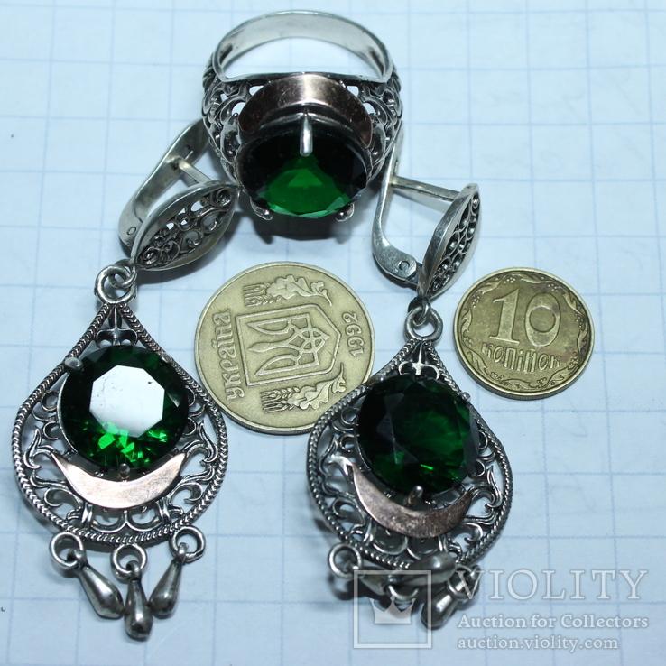 Серебро , золото и цирконы .Комплект из дух сережек и кольца, фото №5