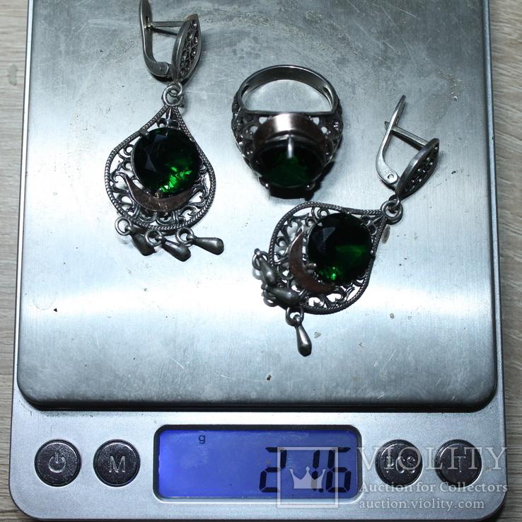 Серебро , золото и цирконы .Комплект из дух сережек и кольца, фото №7