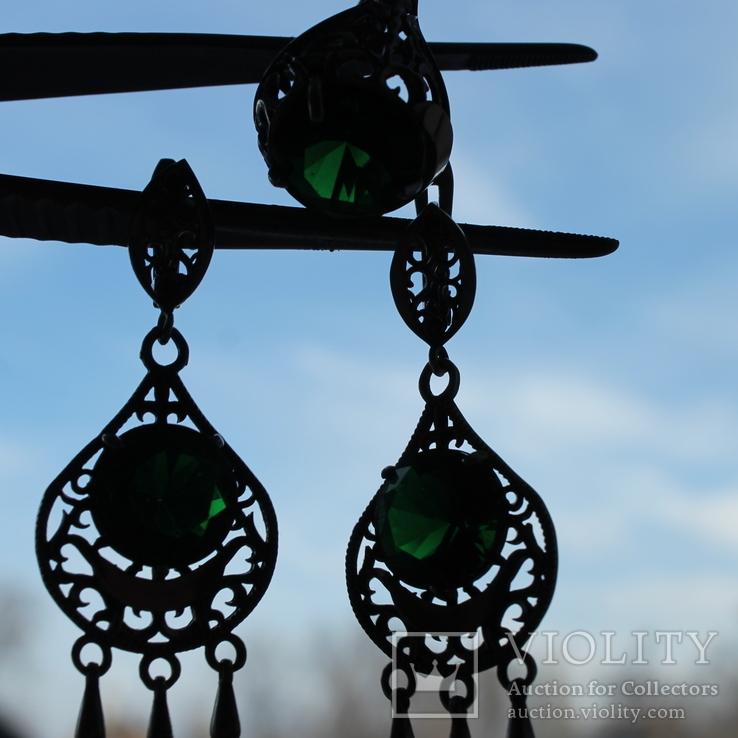 Серебро , золото и цирконы .Комплект из дух сережек и кольца, фото №8