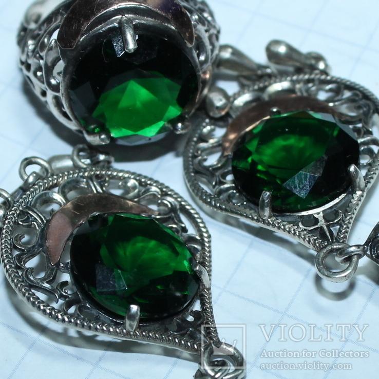 Серебро , золото и цирконы .Комплект из дух сережек и кольца, фото №11
