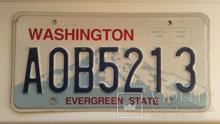 Лицензионный автомобильный номерной знак США. Washington. USA.