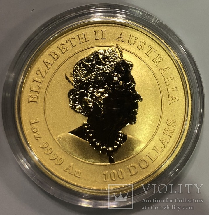 100 $ 2020 год Австралия «Год Мыши» золото 31,1 грамм 999,9', фото №3
