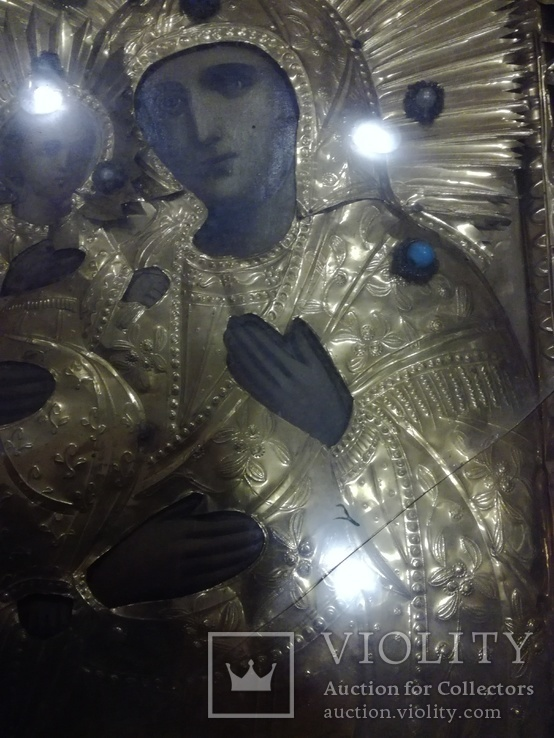 Богородица 43х49. В бисере и окладе. Икона со шпонками., фото №9