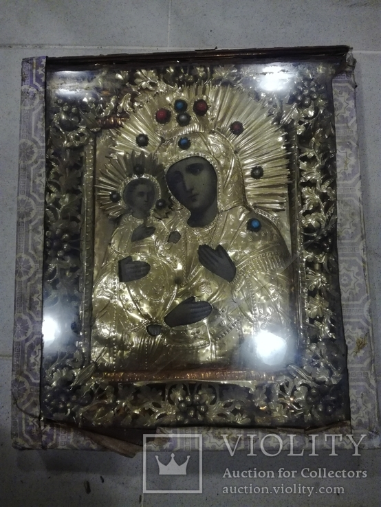 Богородица 43х49. В бисере и окладе. Икона со шпонками., фото №11
