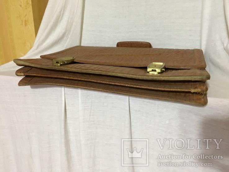 Винтажный кожаный портфель профессора, фото №6