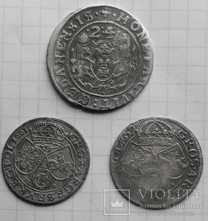 Два шостакі 1661- 1652р. Гданський лот 1624р.(перечікан з 1623 на 24 р.)