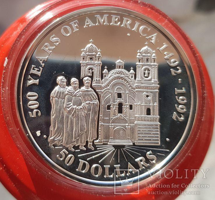 Острова Кука 50 долларов 1991 г Серебро. Унция. 500 летие открытия Америки, фото №2