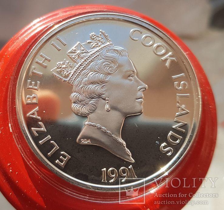 Острова Кука 50 долларов 1991 год Серебро. Унция. 500 летие открытия Америки, фото №3