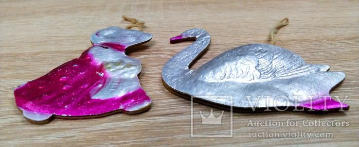 Елочные игрушки мышка, лебедь, рыбки. картон и пластмасс, ссср. 5 штук., фото №5