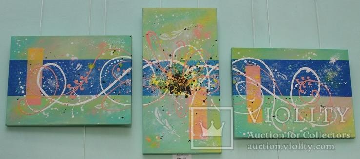 Картина модульная триптих акрил Ветер, 30Х40см, 50Х25см, 30Х40см, фото №2