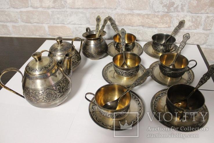 Чайный сервиз. Серебро, северная чернь, фото №3