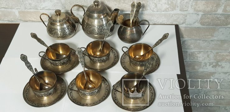 Чайный сервиз. Серебро, северная чернь, фото №4