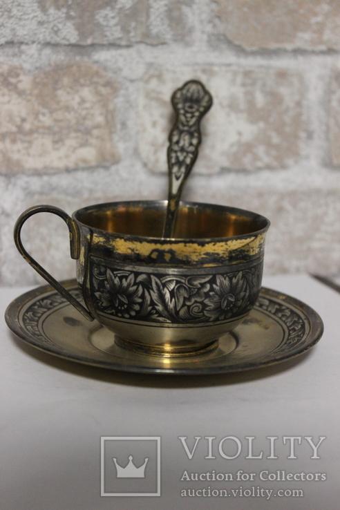Чайный сервиз. Серебро, северная чернь, фото №8