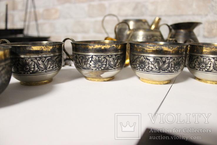 Чайный сервиз. Серебро, северная чернь, фото №9