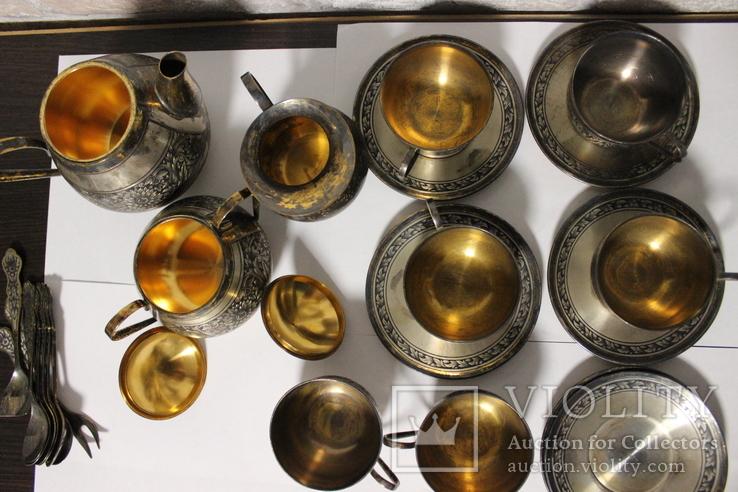 Чайный сервиз. Серебро, северная чернь, фото №10