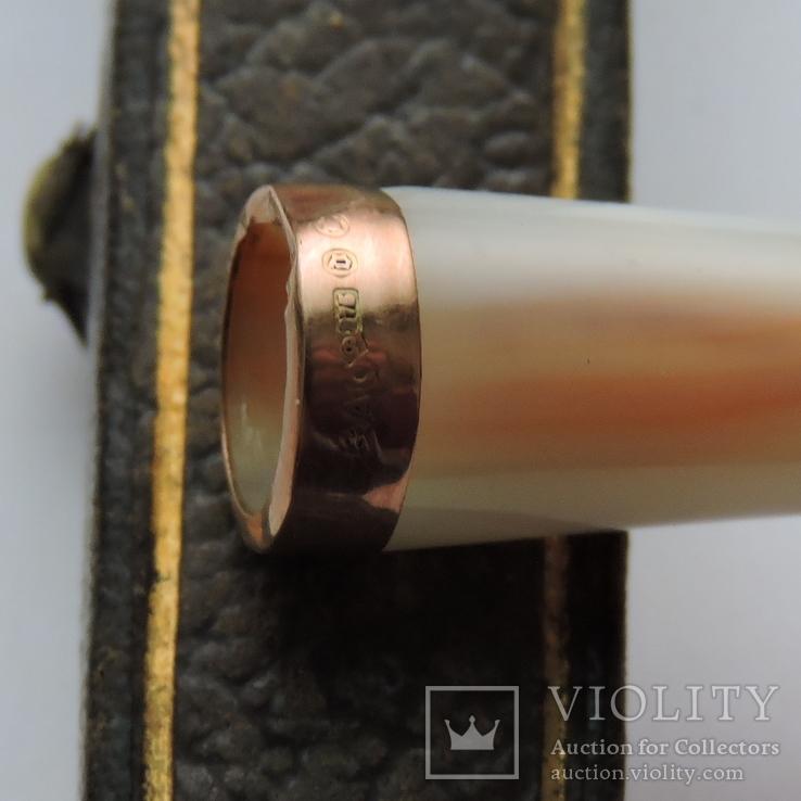 Мундштук  с золотым ободком в родной коробке, фото №6