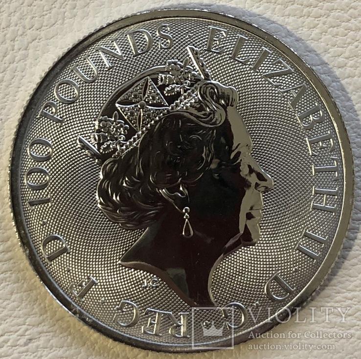100 фунтов 2020 год Англия «Сокол» платина 31,1 грамм 999,5', фото №3