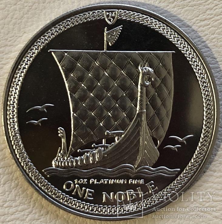1 нобль 1985 год остров Мэн платина 31,1 грамм 999,5', фото №2