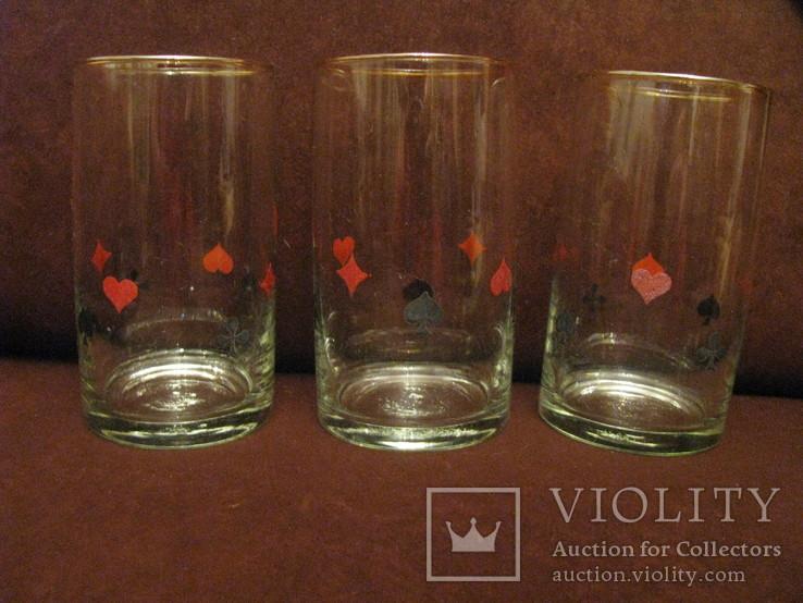 Три стакана для картёжников - стекло - Польша., фото №2