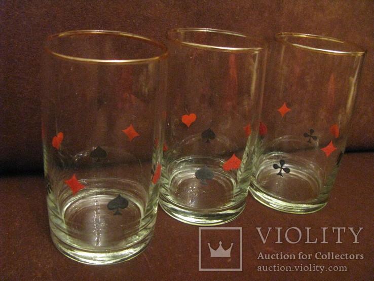 Три стакана для картёжников - стекло - Польша., фото №5