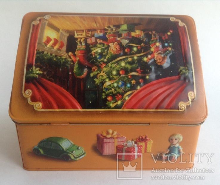 Коробка от конфет У ёлки. Металл, жесть., фото №6