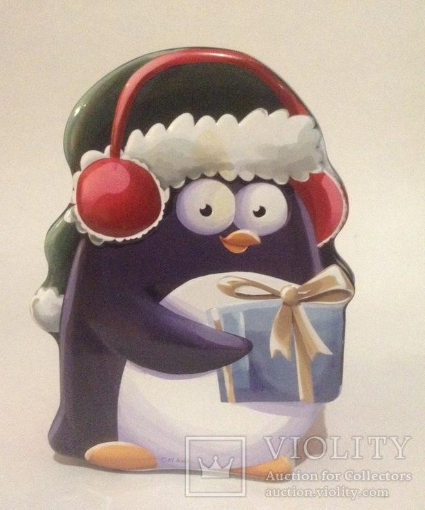 Коробка из-под сладостей Пингвинчик. Металл, жесть., фото №2