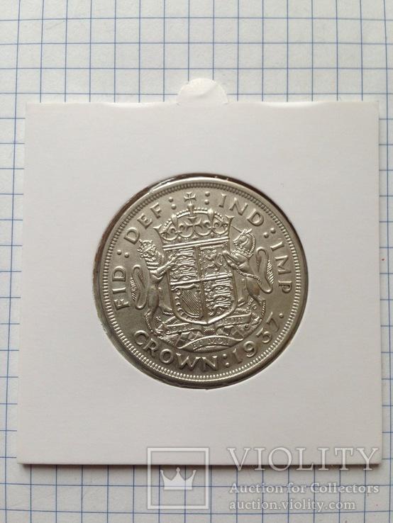 Великобритания. 1 крона. 1937 г. Серебро. 500 пр. 28,3 гр., фото №6