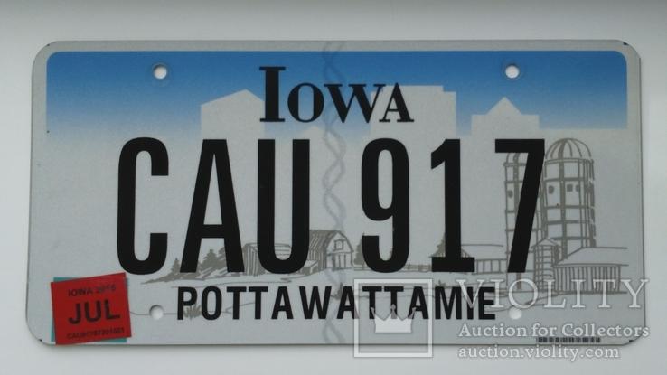 Лицензионный автомобильный номерной знак США. Iowa. USA.