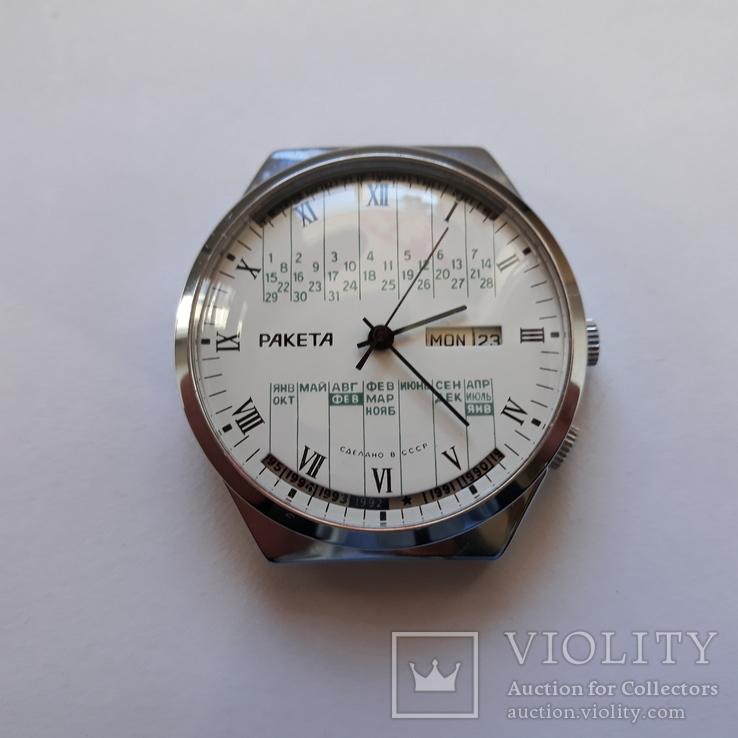 """Годинник Ракета """"вічний календар"""" Новий білий, фото №2"""