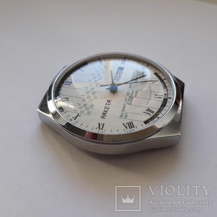 """Годинник Ракета """"вічний календар"""" Новий білий, фото №6"""