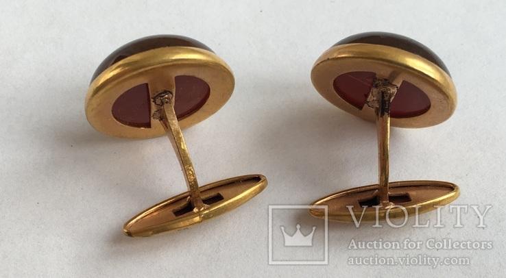Запонки из янтаря СССР в коробочке, фото №6