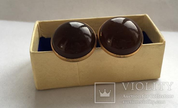 Запонки из янтаря СССР в коробочке, фото №7