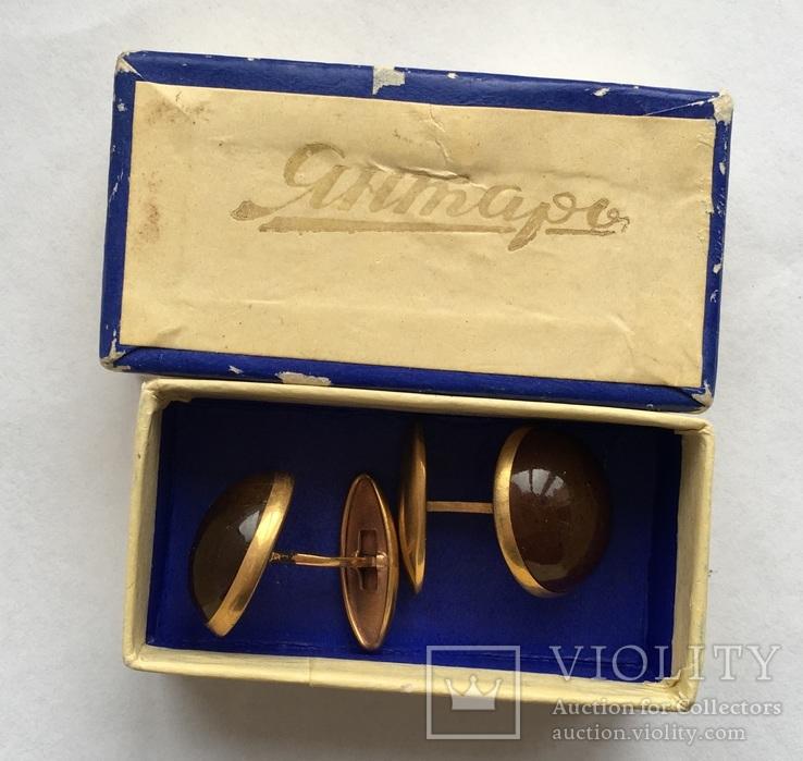 Запонки из янтаря СССР в коробочке, фото №9