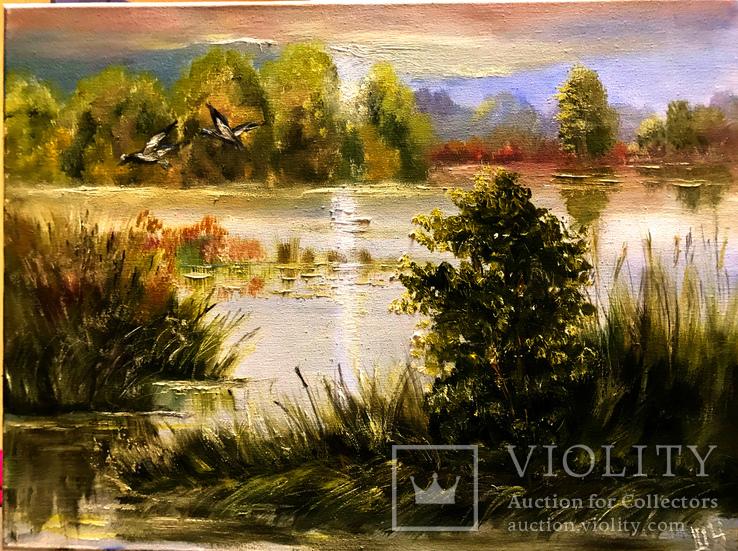 Закат над озером.30х40 Шаркади Н., фото №2