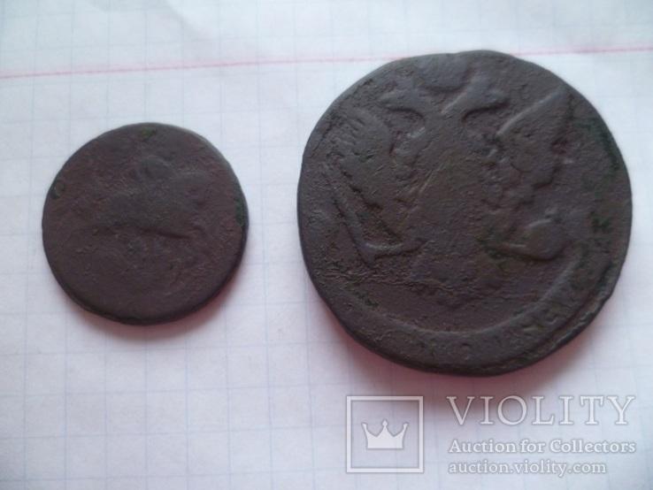 Лот монет 18 века. ( 5 копеек и 1 копейка 1760 г.г.), фото №4